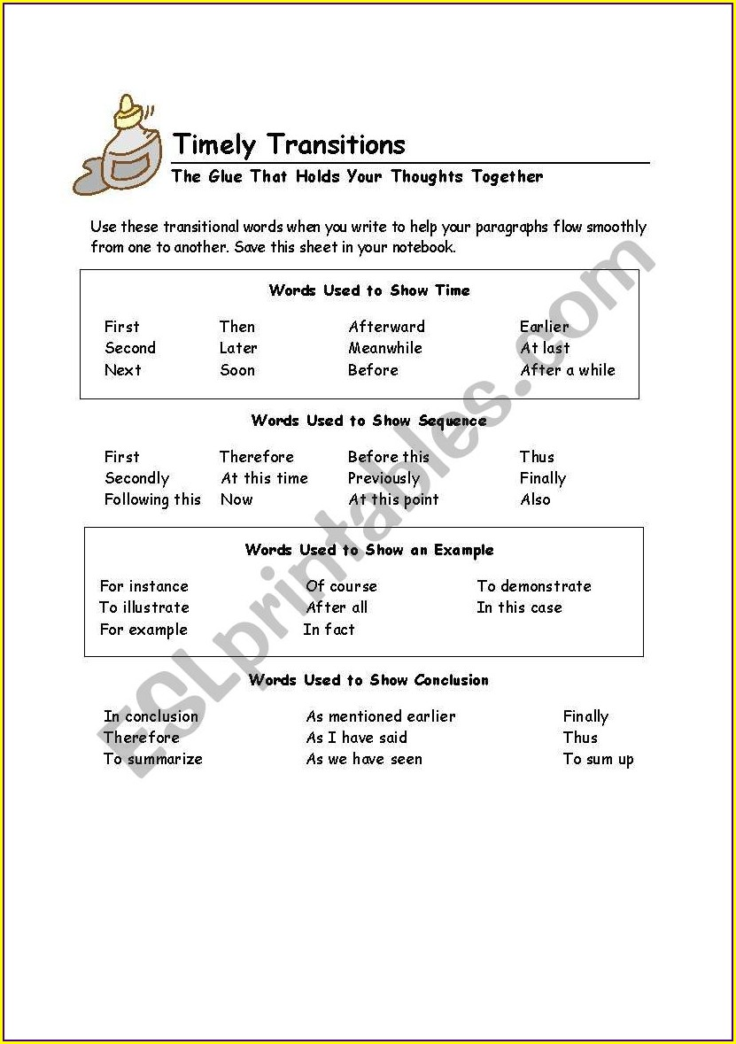 Worksheet With Transitional Words