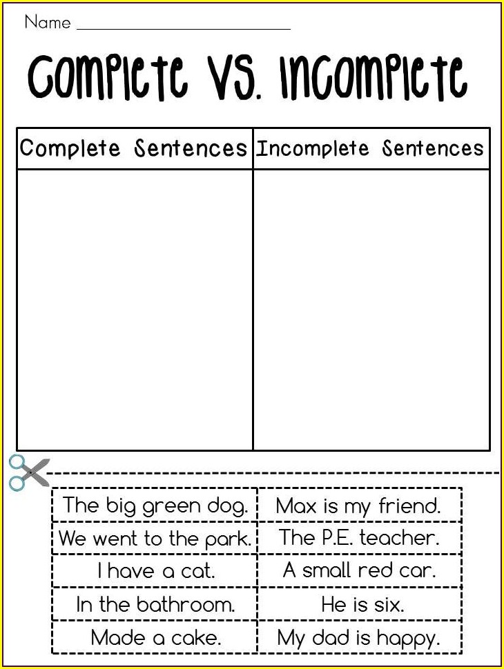 Writing Complete Sentences Worksheets 3rd Grade