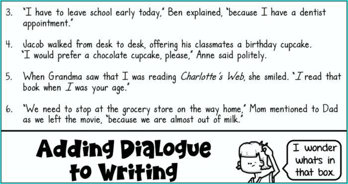 Writing Dialogue Worksheet Pdf