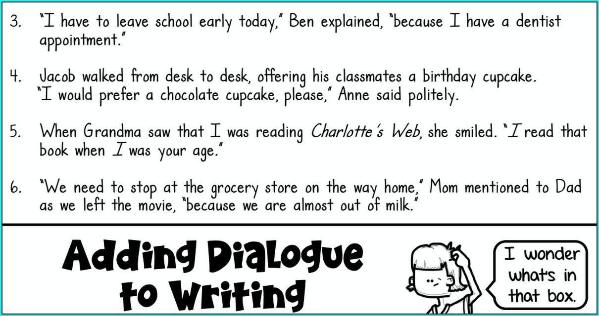 Writing Dialogue Worksheet Pdf