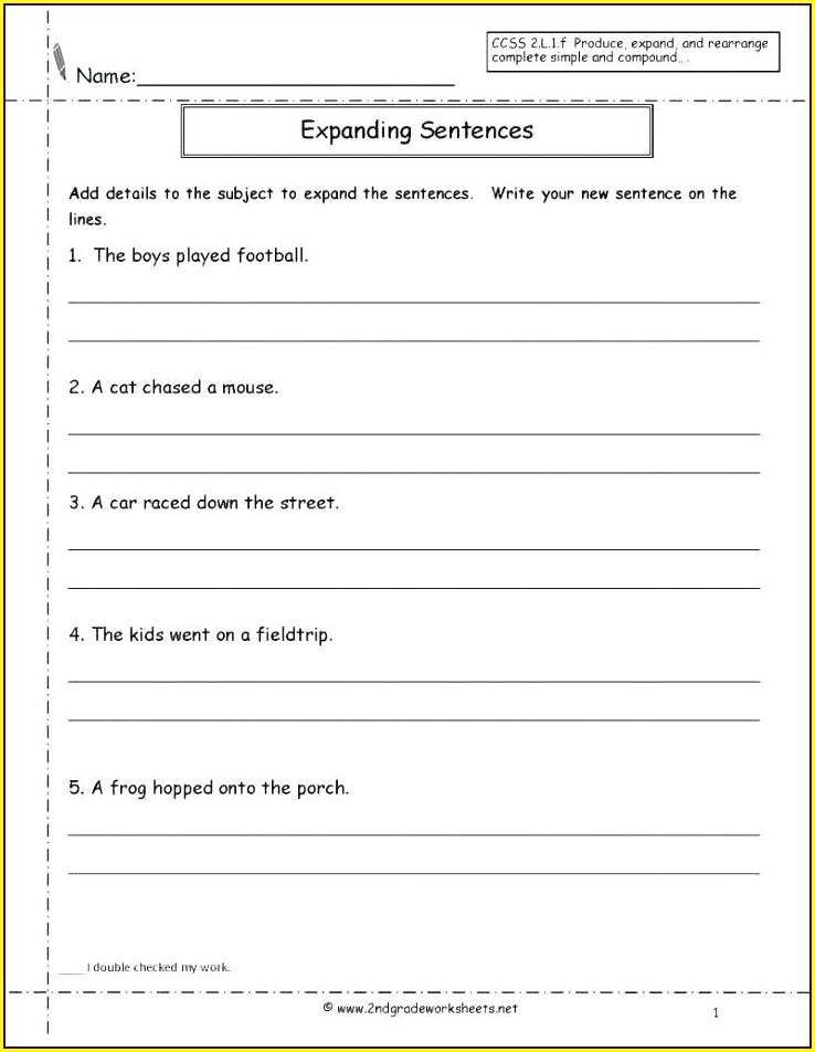 Writing Opening Sentences Worksheet