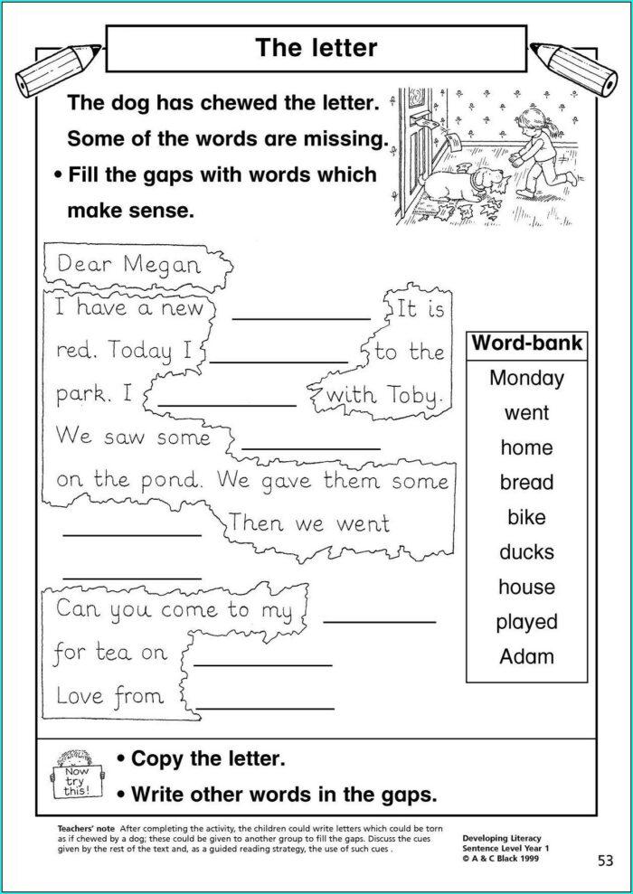 Writing Sentences Ks1 Worksheets