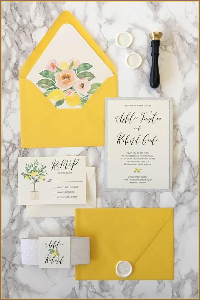 Yellow And Silver Wedding Invitations