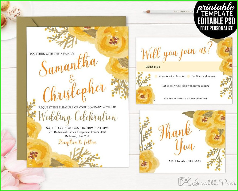 Yellow Flower Wedding Invitations