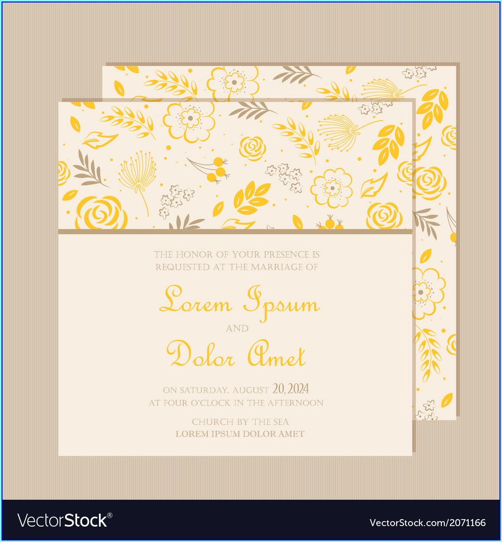 Yellow Wedding Invitation Card