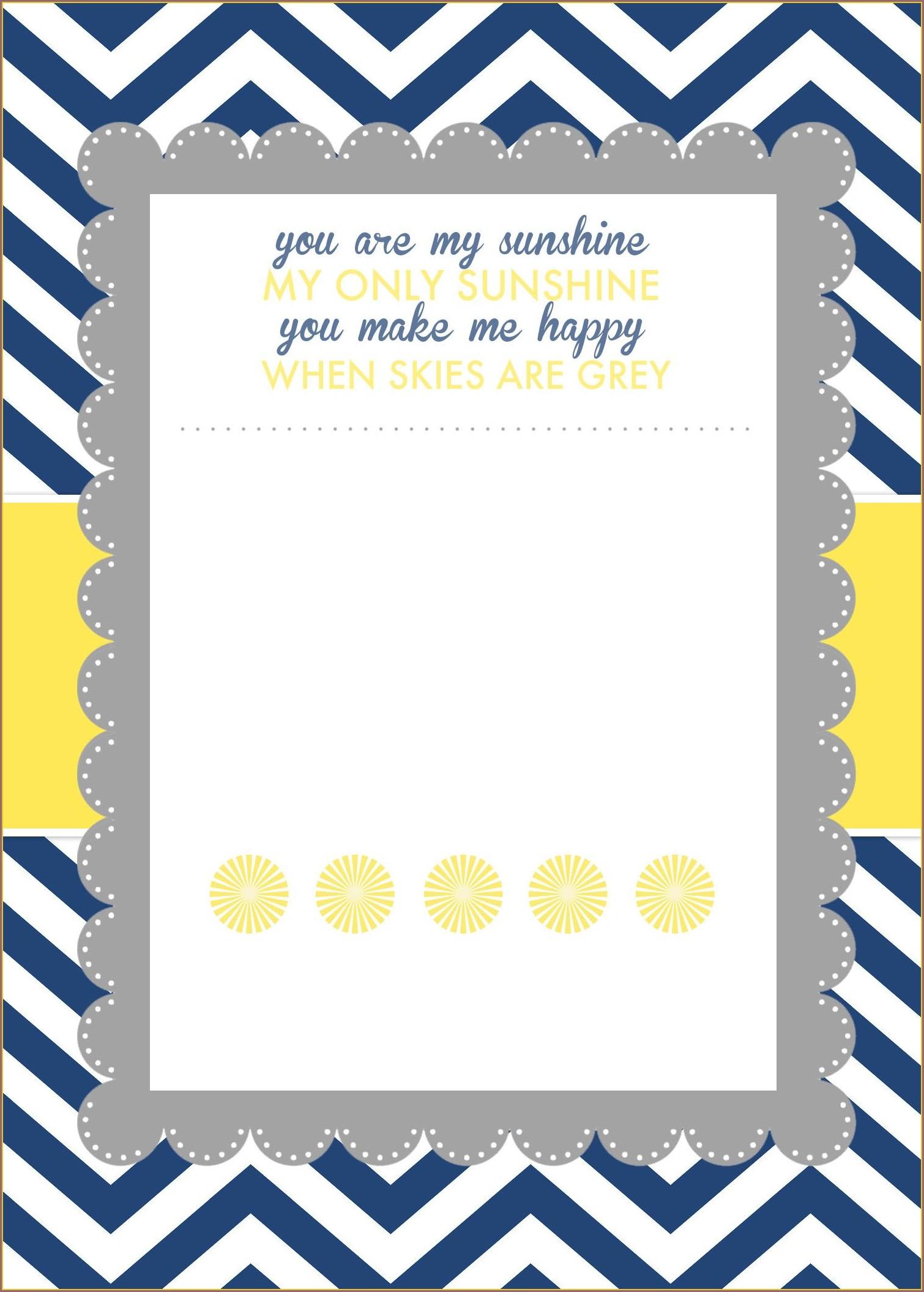 You Are My Sunshine Invitation Template Free