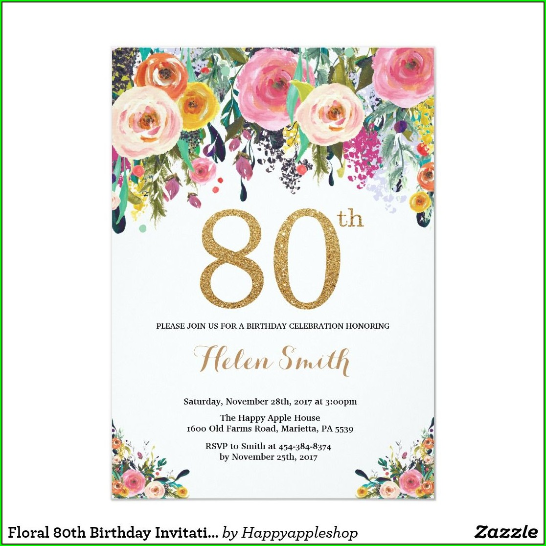 Zazzle 80th Birthday Invitations