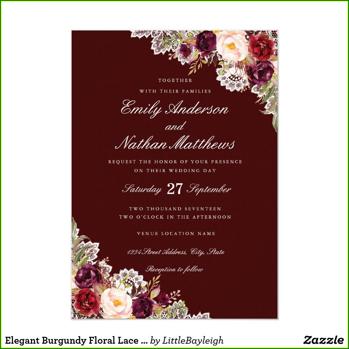 Zazzle Burgundy Wedding Invitations