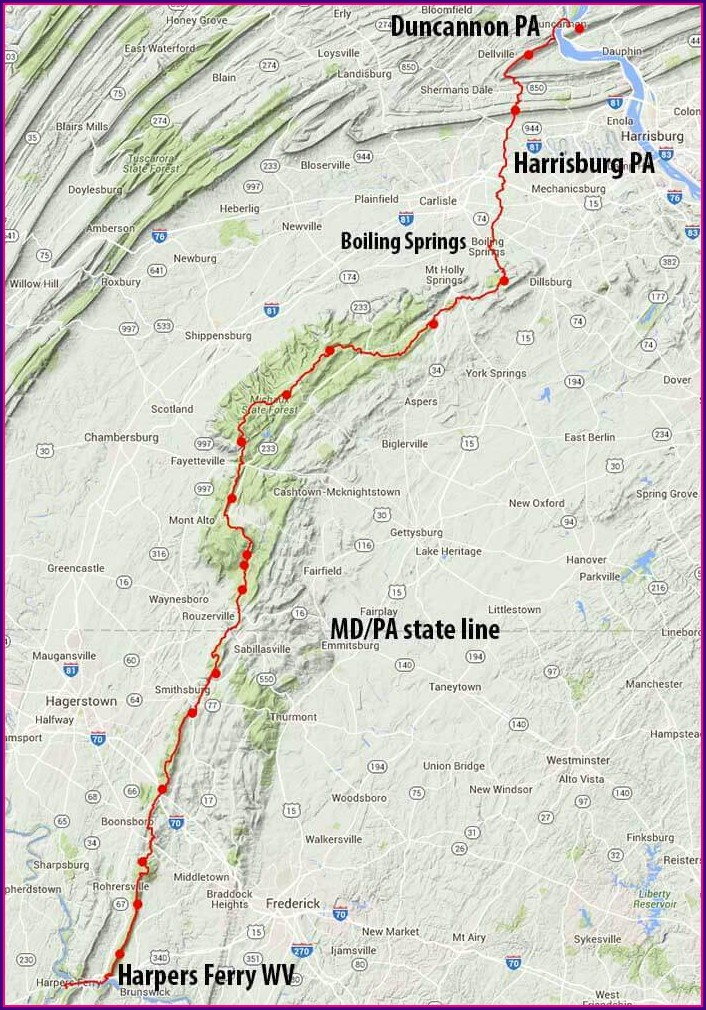 Appalachian Trail Through Pa Map
