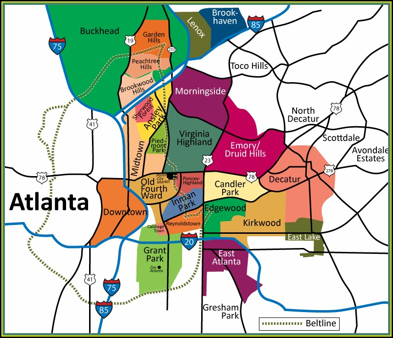 Atlanta Beltline Map Of Atlanta Neighborhoods