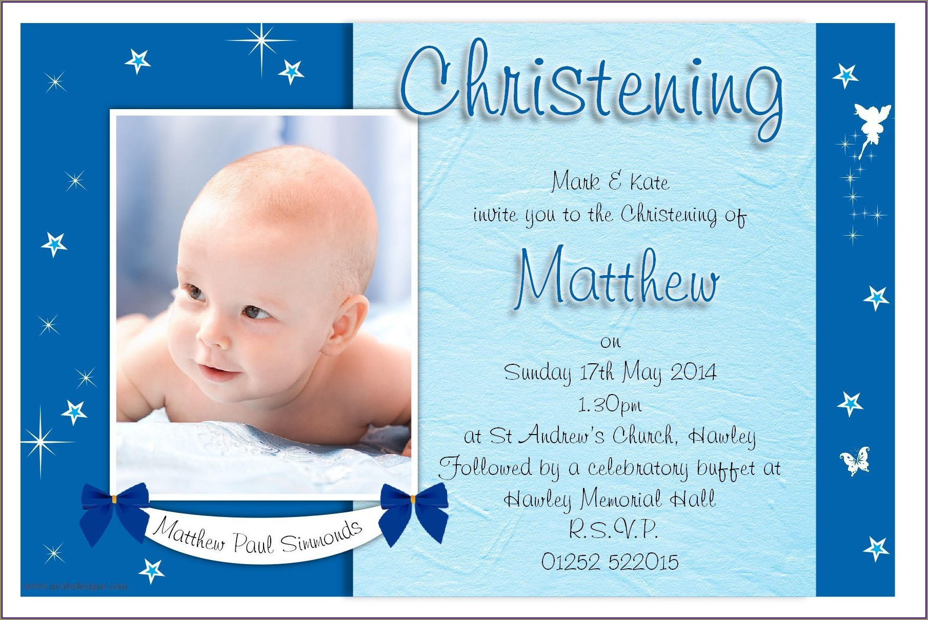 Baby Boy Dedication Invitation Sample