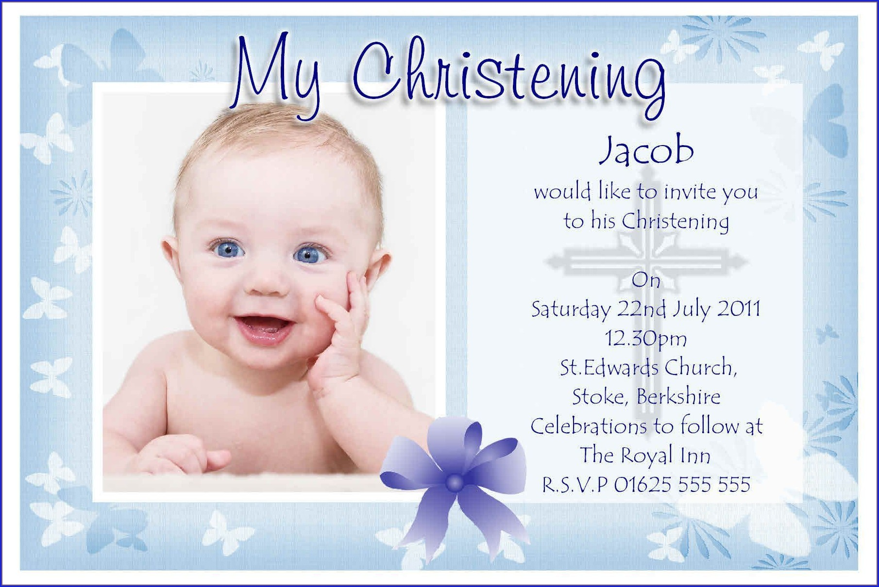 Baby Boy Invitation Card For Christening Blank Background