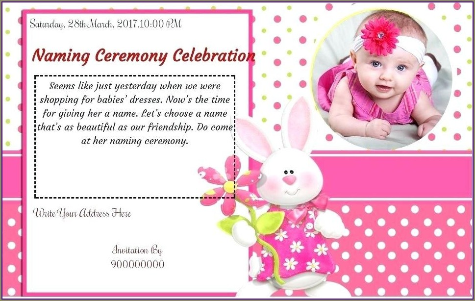 Baby Girl Naming Ceremony Invitation Template