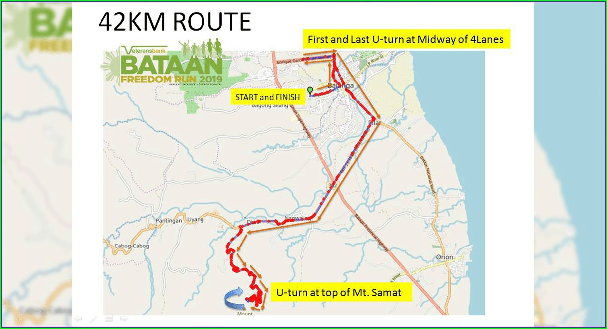Bataan Death March Route Map