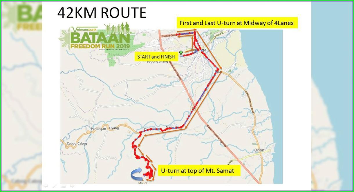 Bataan Death March Route Map