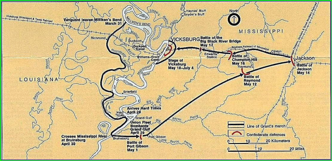 Battle Of Vicksburg Mississippi Map