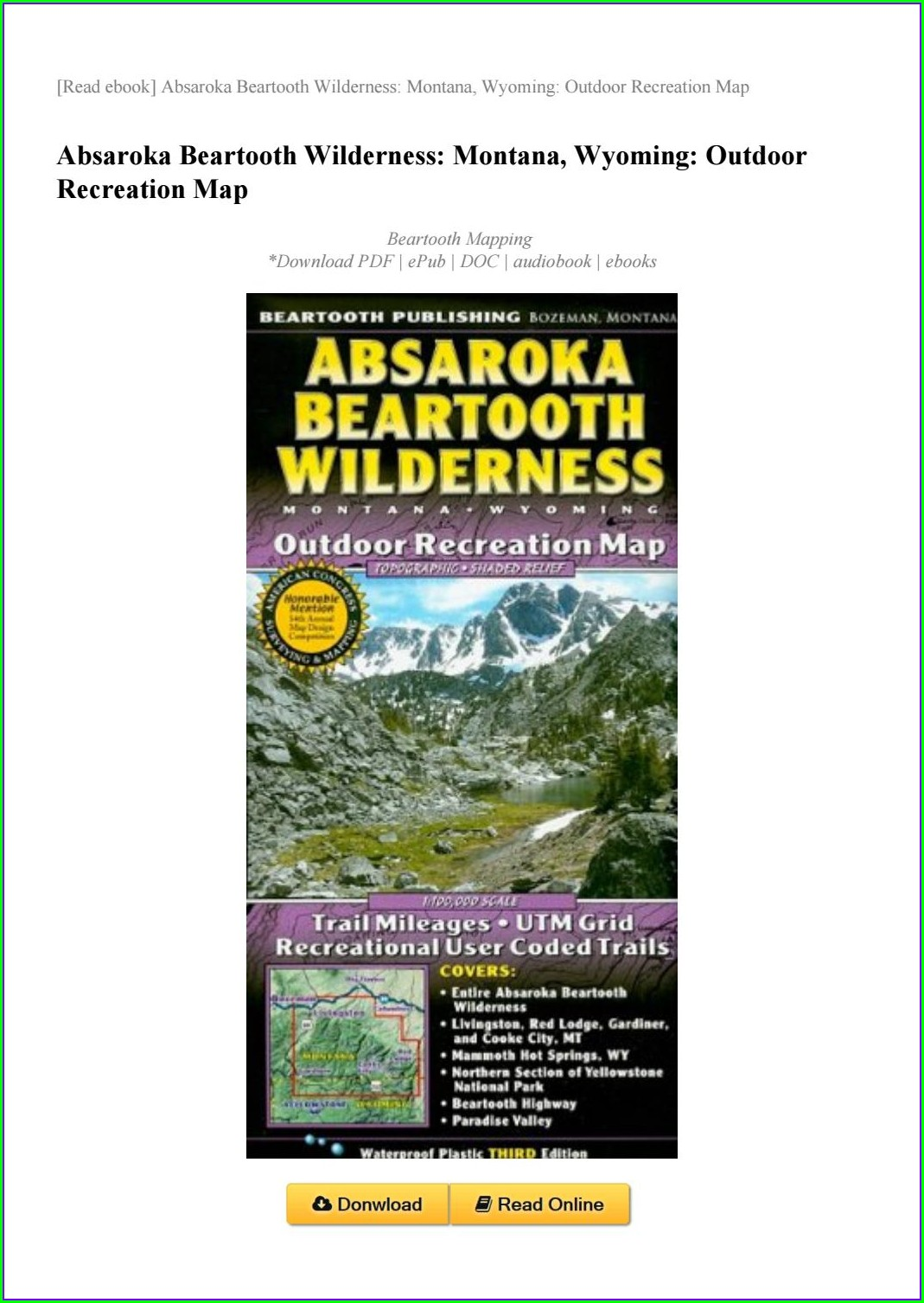 Beartooth Highway Map Pdf