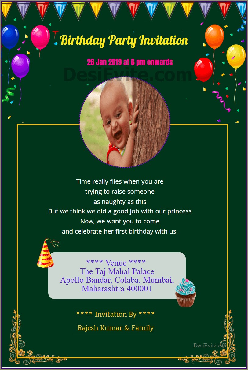 Birthday Invitation Card Design For Whatsapp
