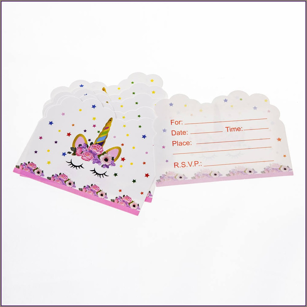 Birthday Invitation Card Unicorn Theme