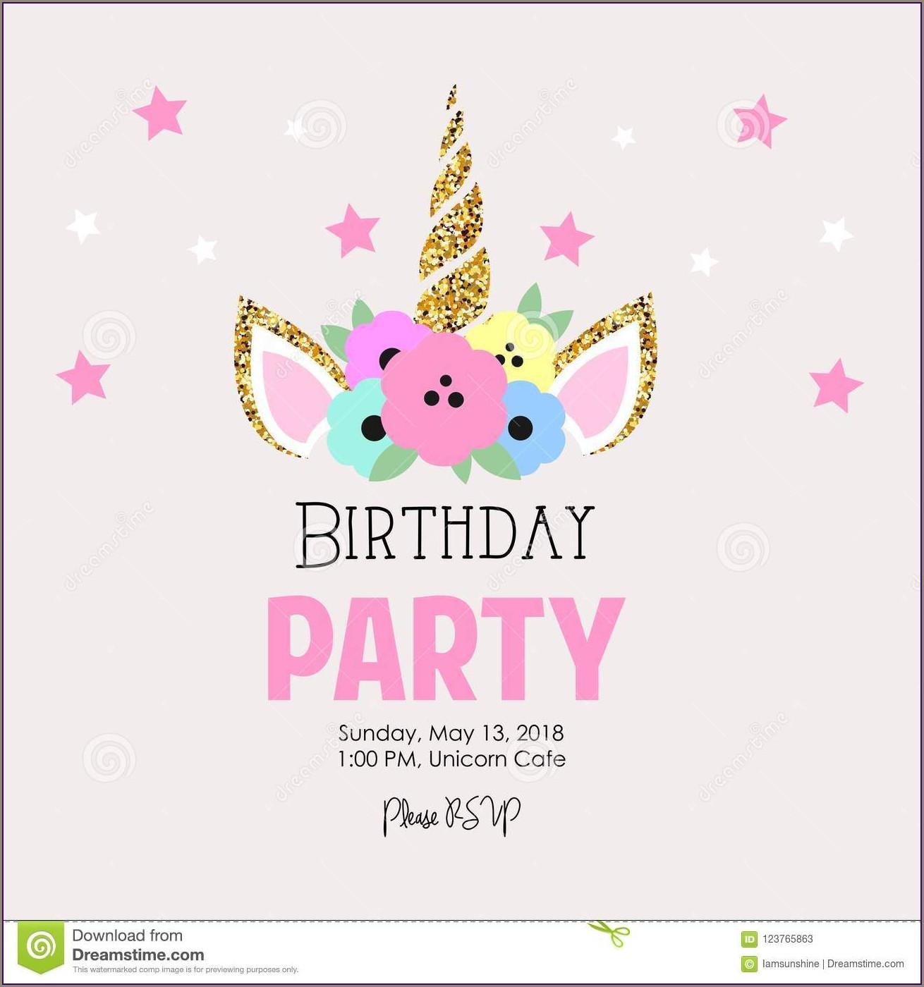 Birthday Invitation Unicorn Design