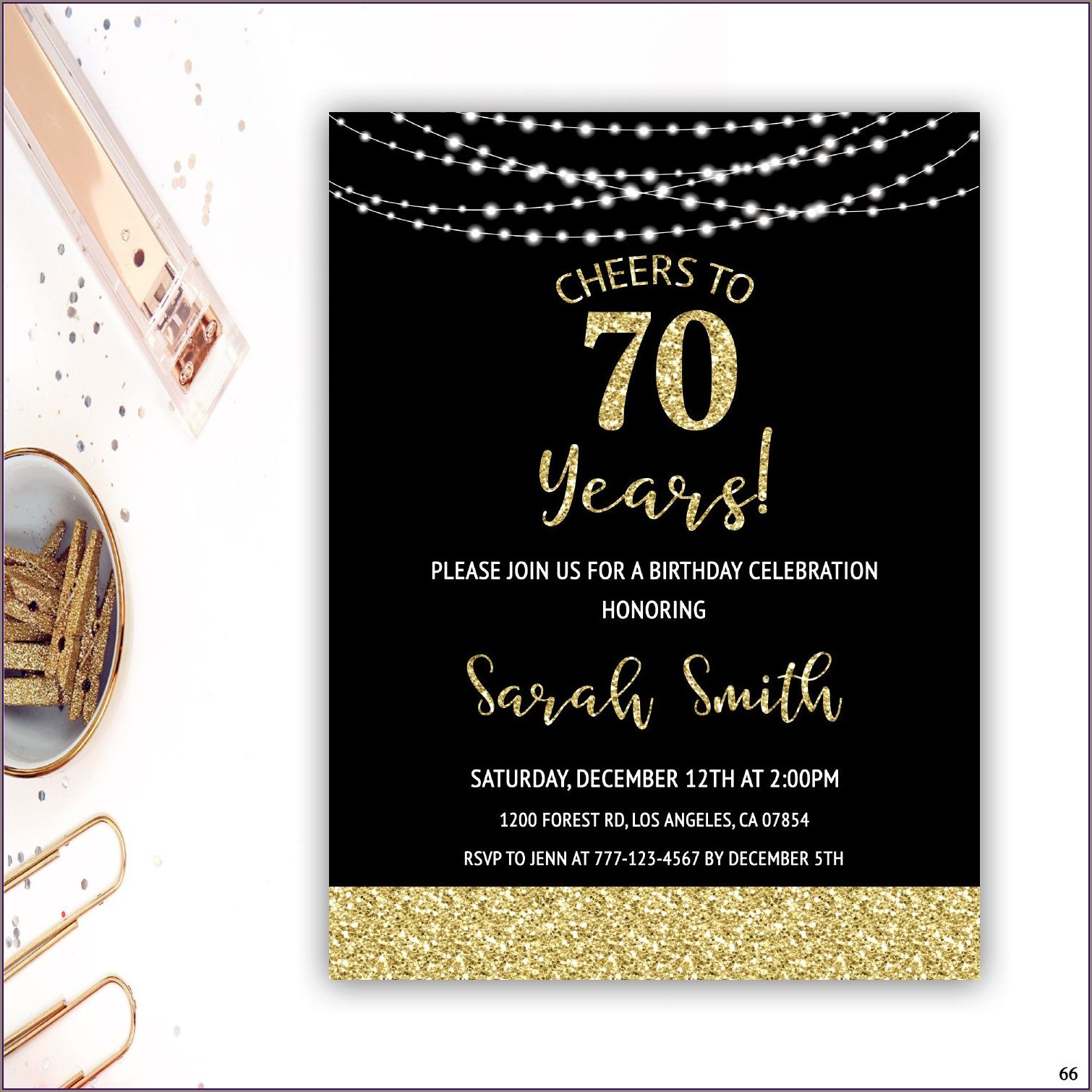 Black And Gold 70th Birthday Invitations