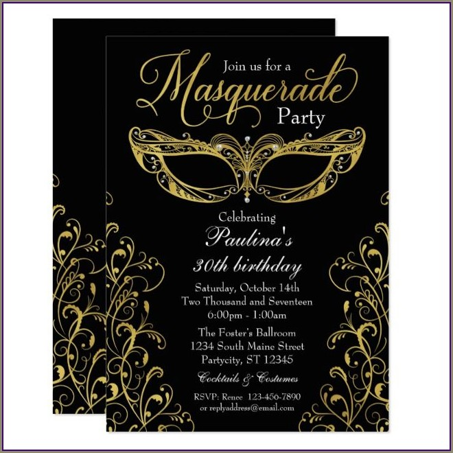 Black And Gold Masquerade Invitations