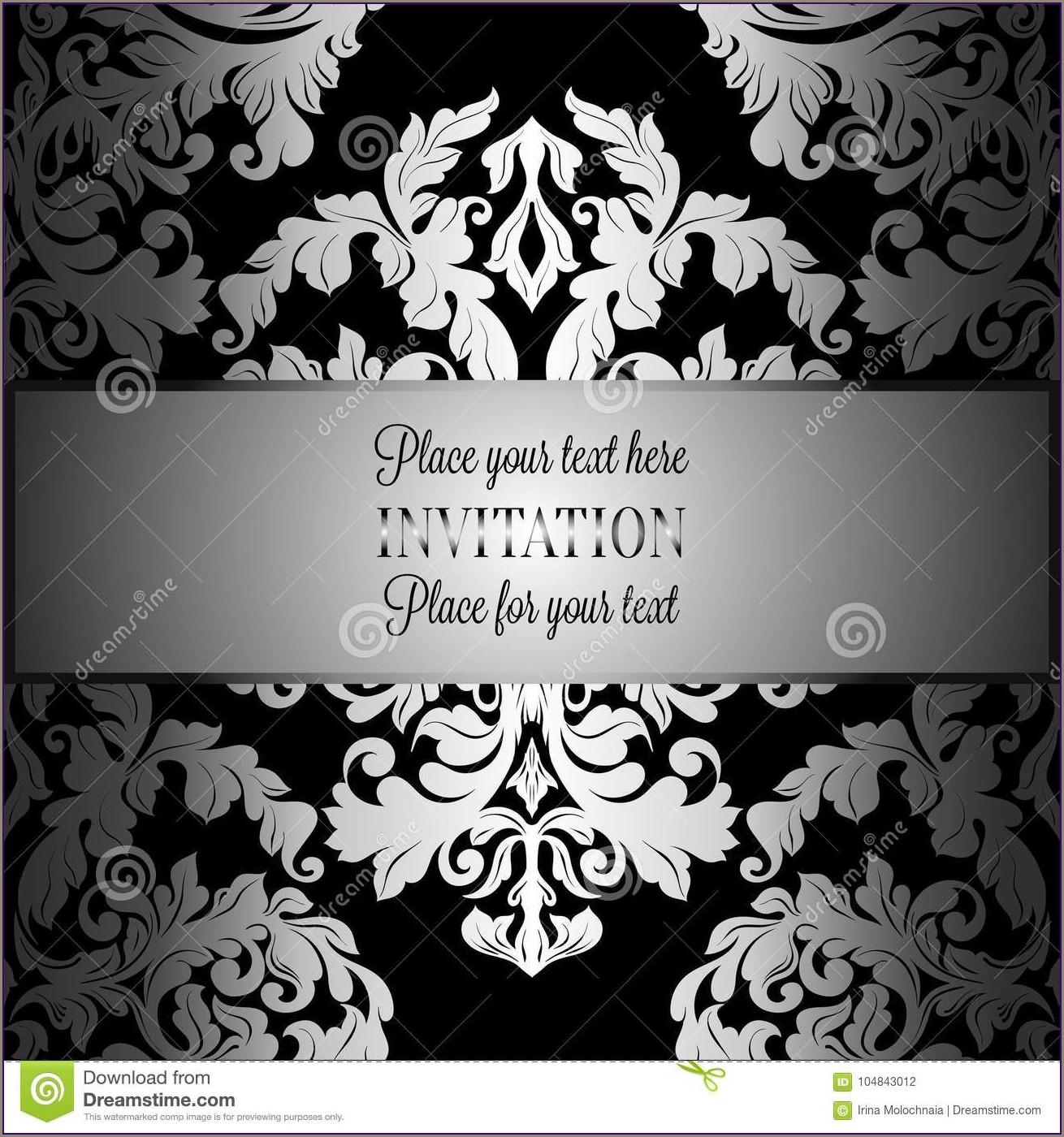 Black And Silver Invitation Templates Free