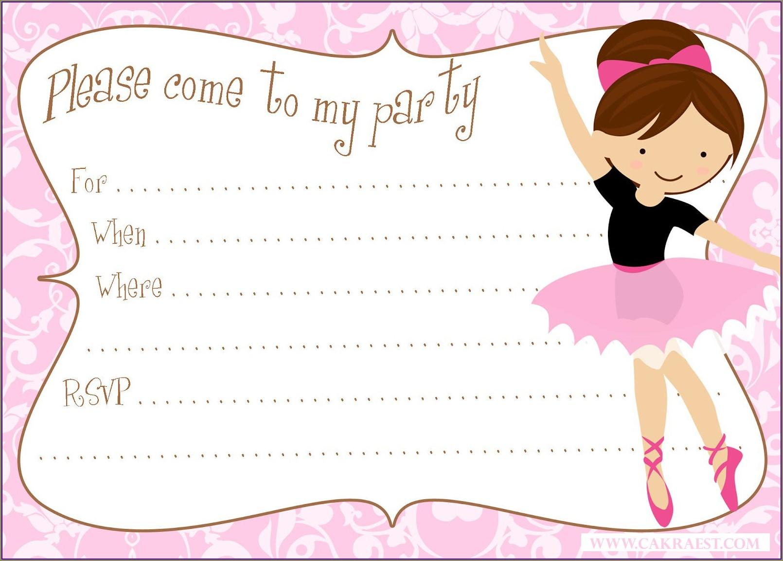 Blank Ballerina Invitation Template