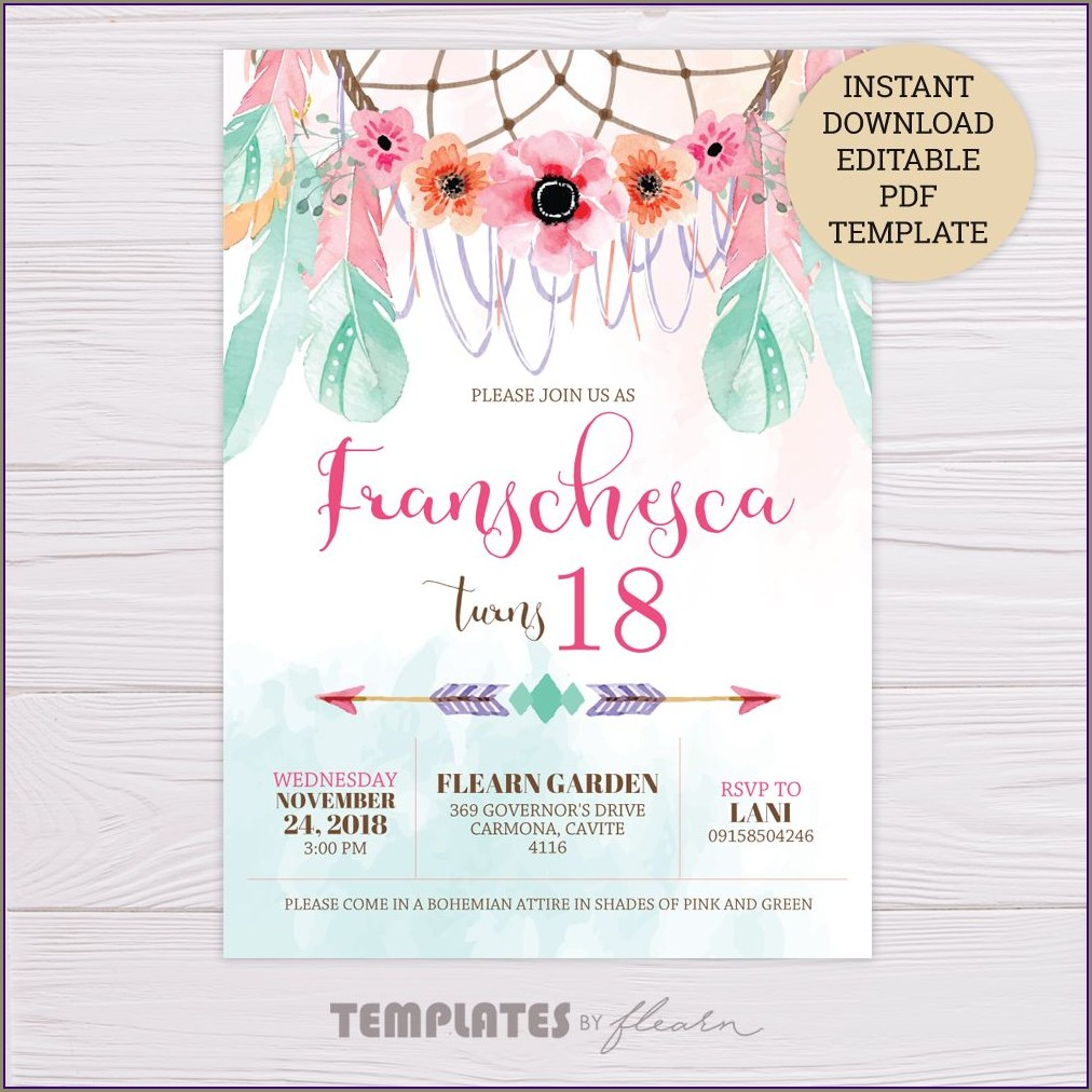 Blank Dream Catcher Invitation Template Free