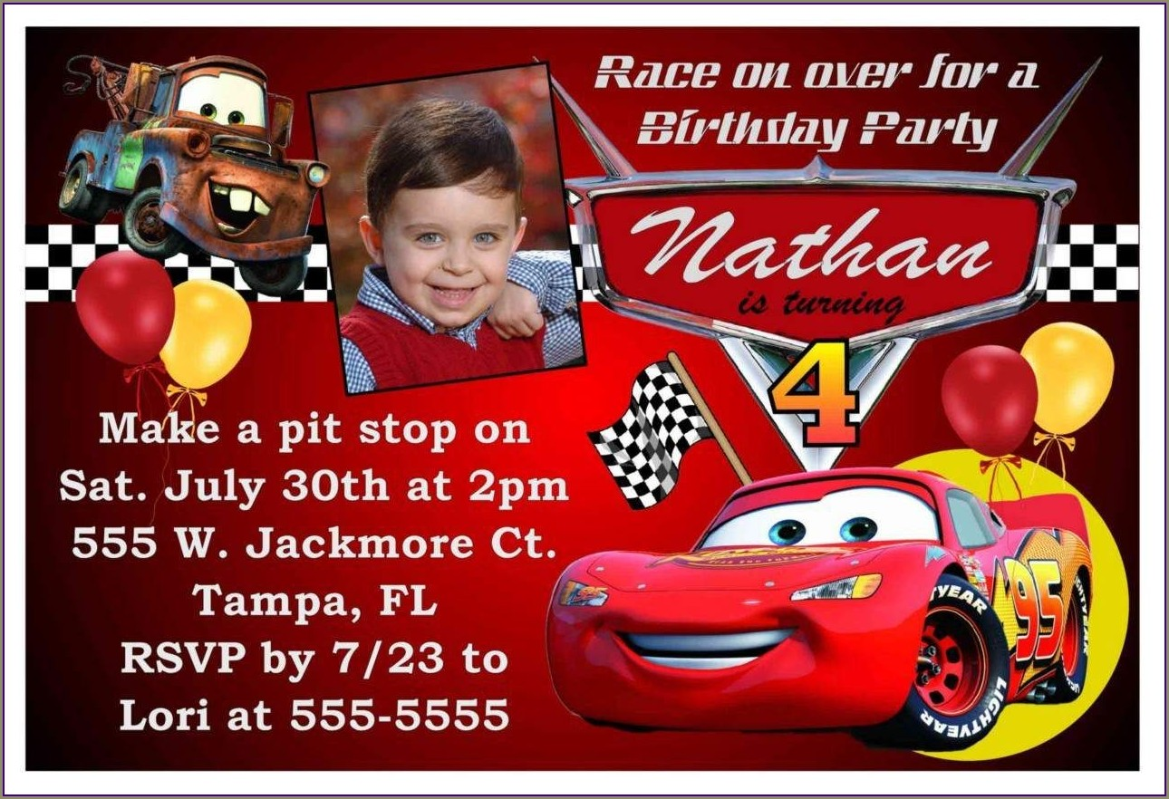 Blank Free Personalized Disney Cars Invitations
