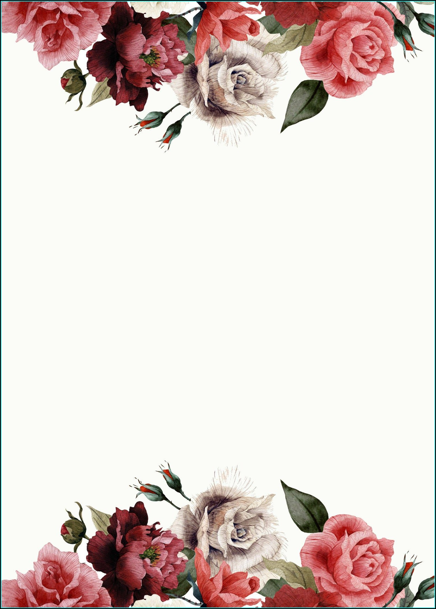 Blank Red Rose Invitation Template