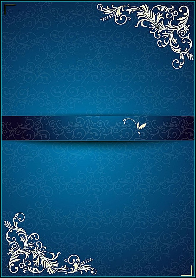 Blank Wedding Invitation Card Royal Blue Background Design