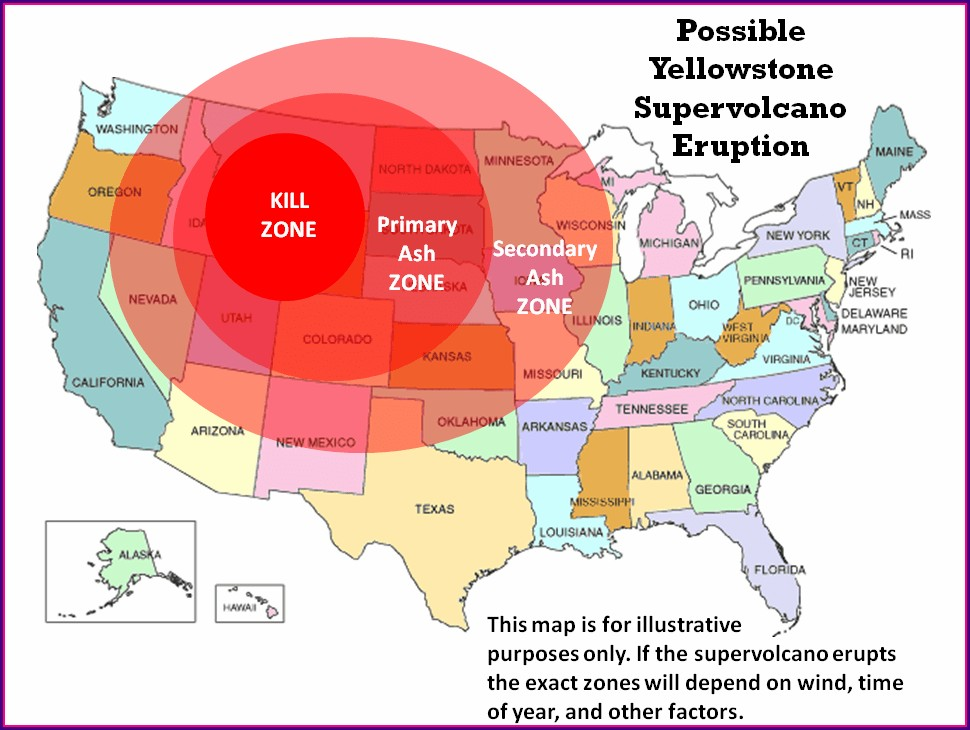 Blast Radius Yellowstone Caldera Map