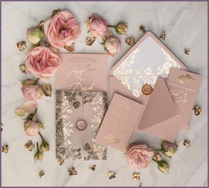 Blush And Rose Gold Wedding Invitations
