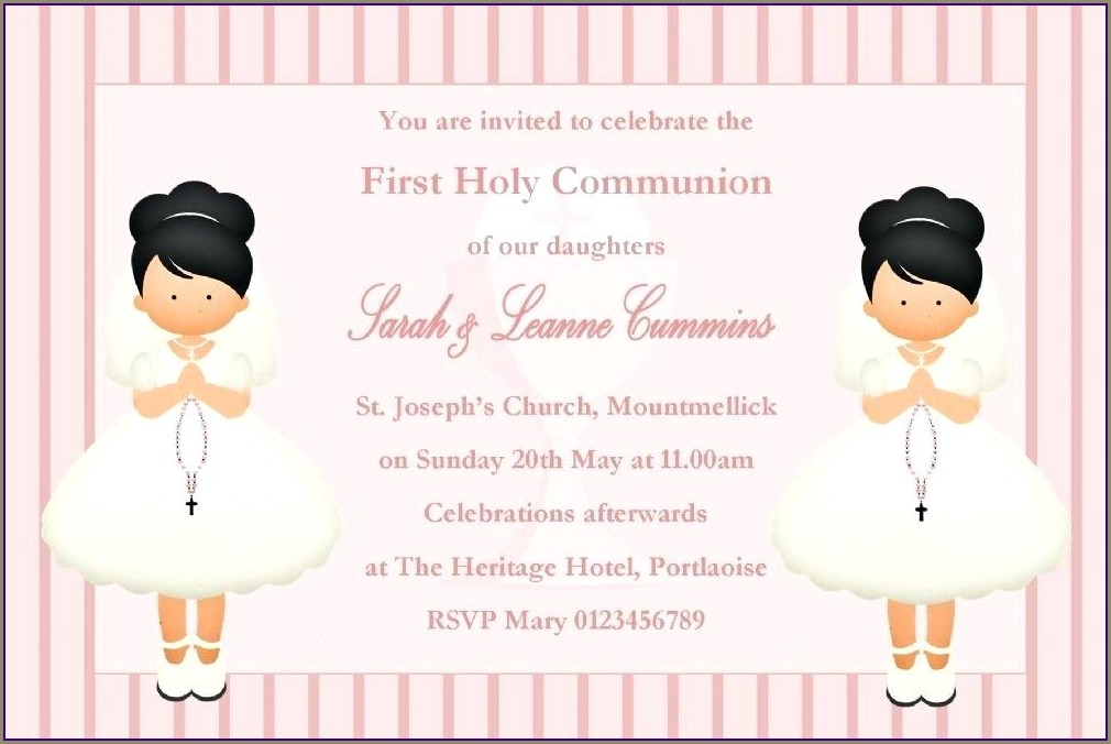 Boy Girl Twin Communion Invitations