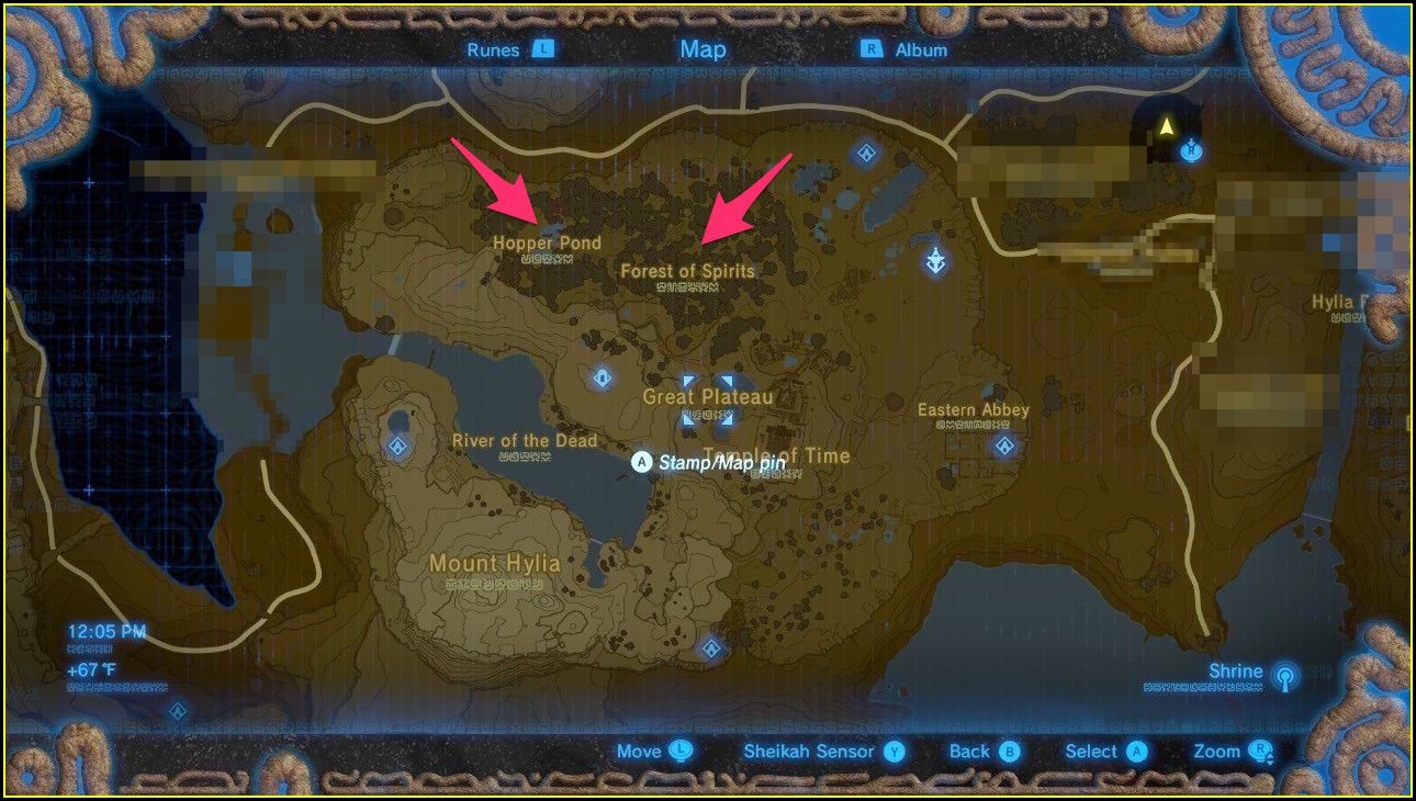 Breath Of The Wild Shrine Map Great Plateau