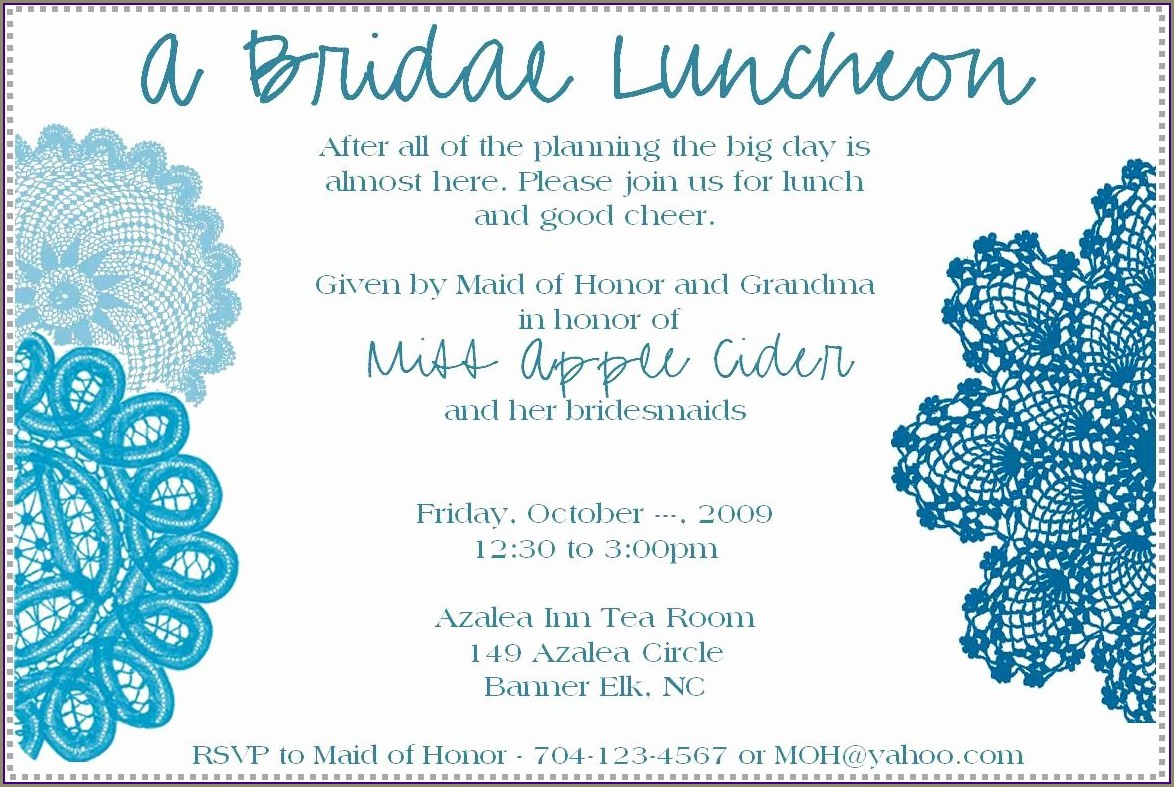 Bridal Luncheon Invitations Templates