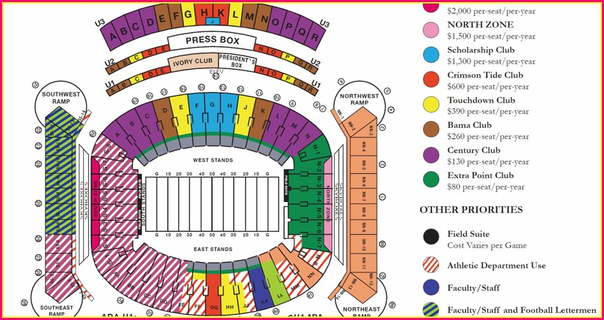 Bryant Denny Stadium Map Gates