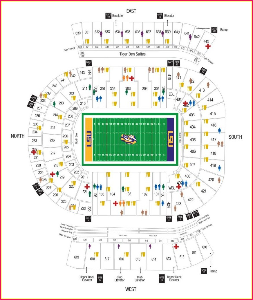 Bryant Denny Stadium Seat Map