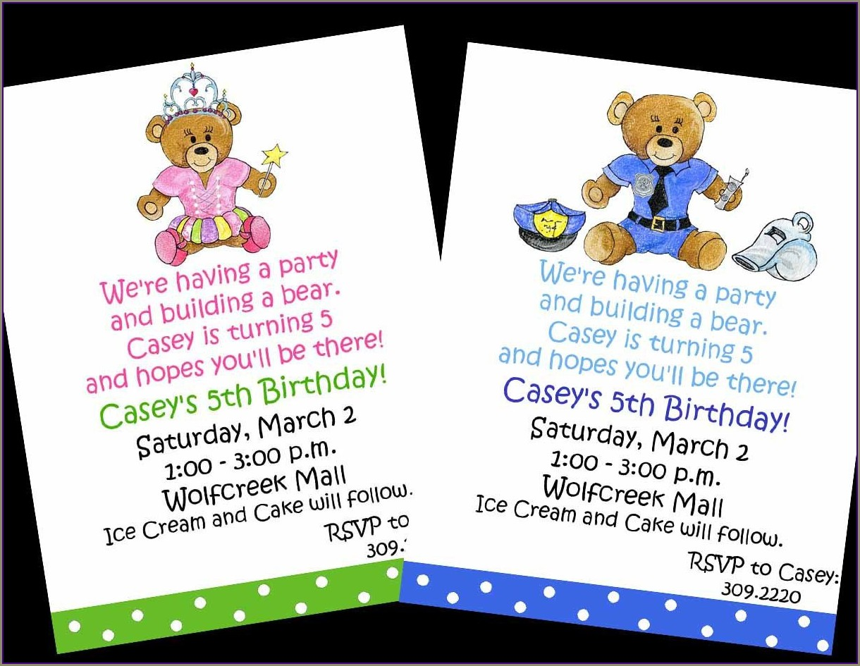 Build A Bear Birthday Invitations Printable