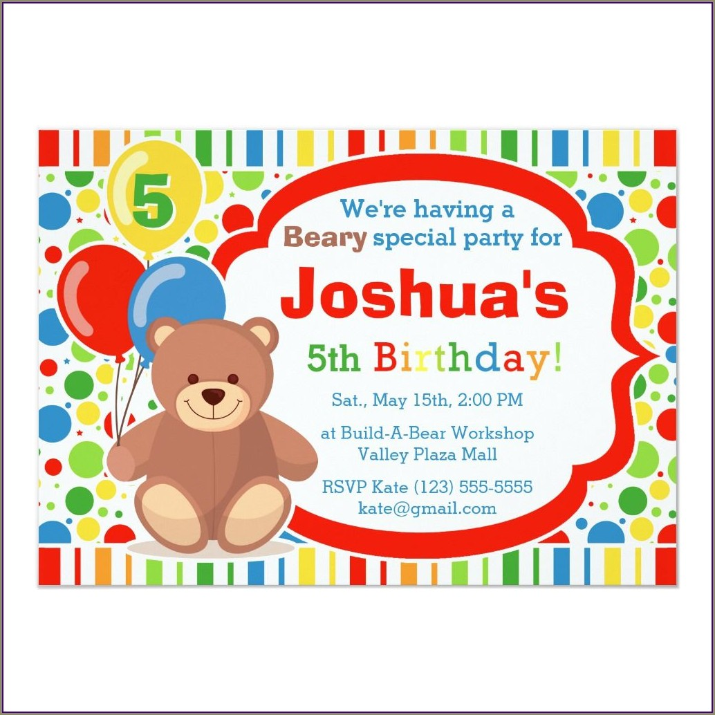 Build A Bear Birthday Invitations