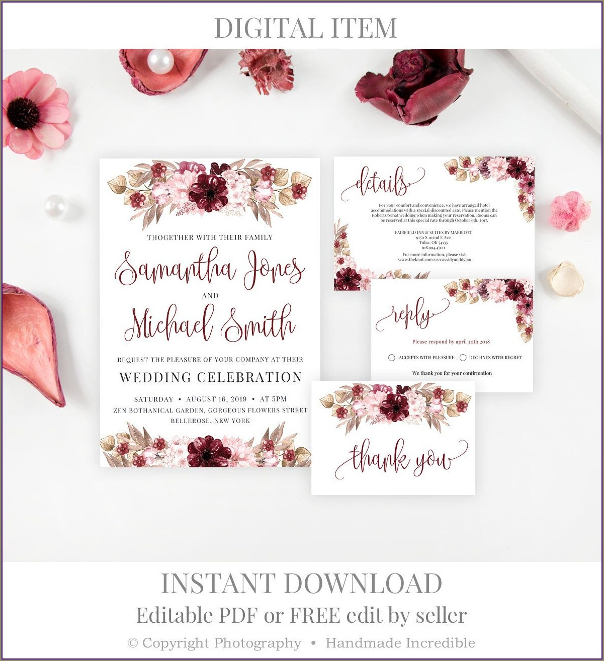 Burgundy Floral Invitation Template