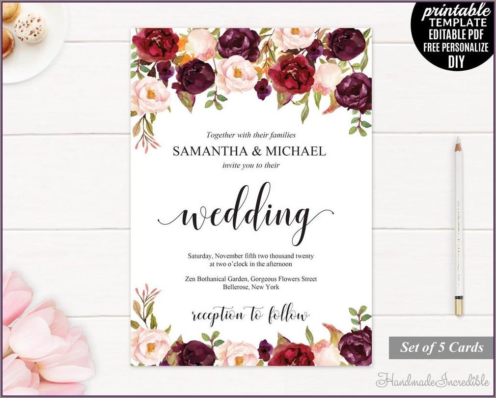 Burgundy Wedding Invitation Templates Free