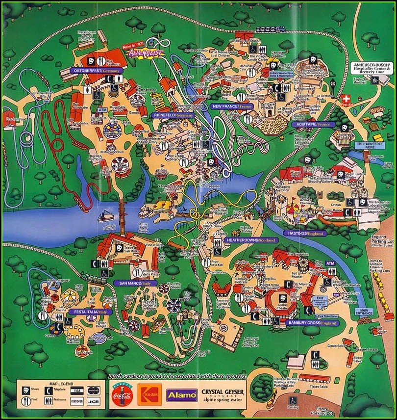 Busch Gardens Williamsburg Map 1997