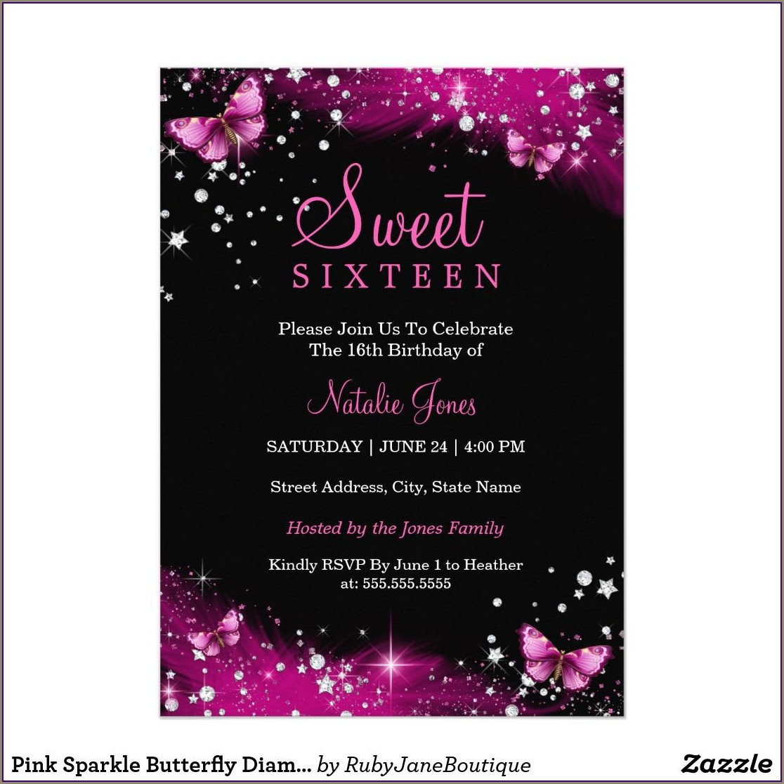 Butterfly Sweet 16 Invitations