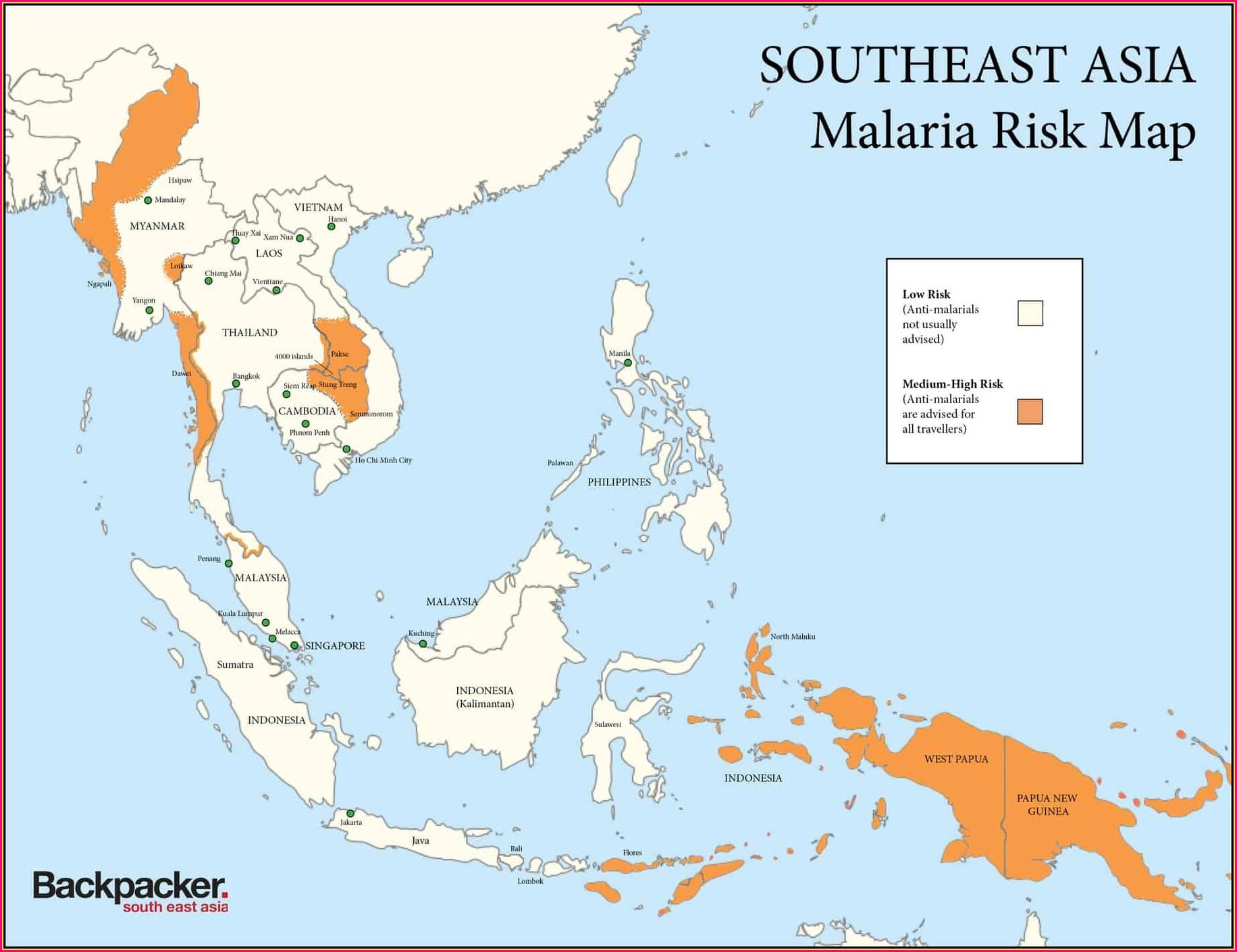 Cdc Malaria Map Thailand