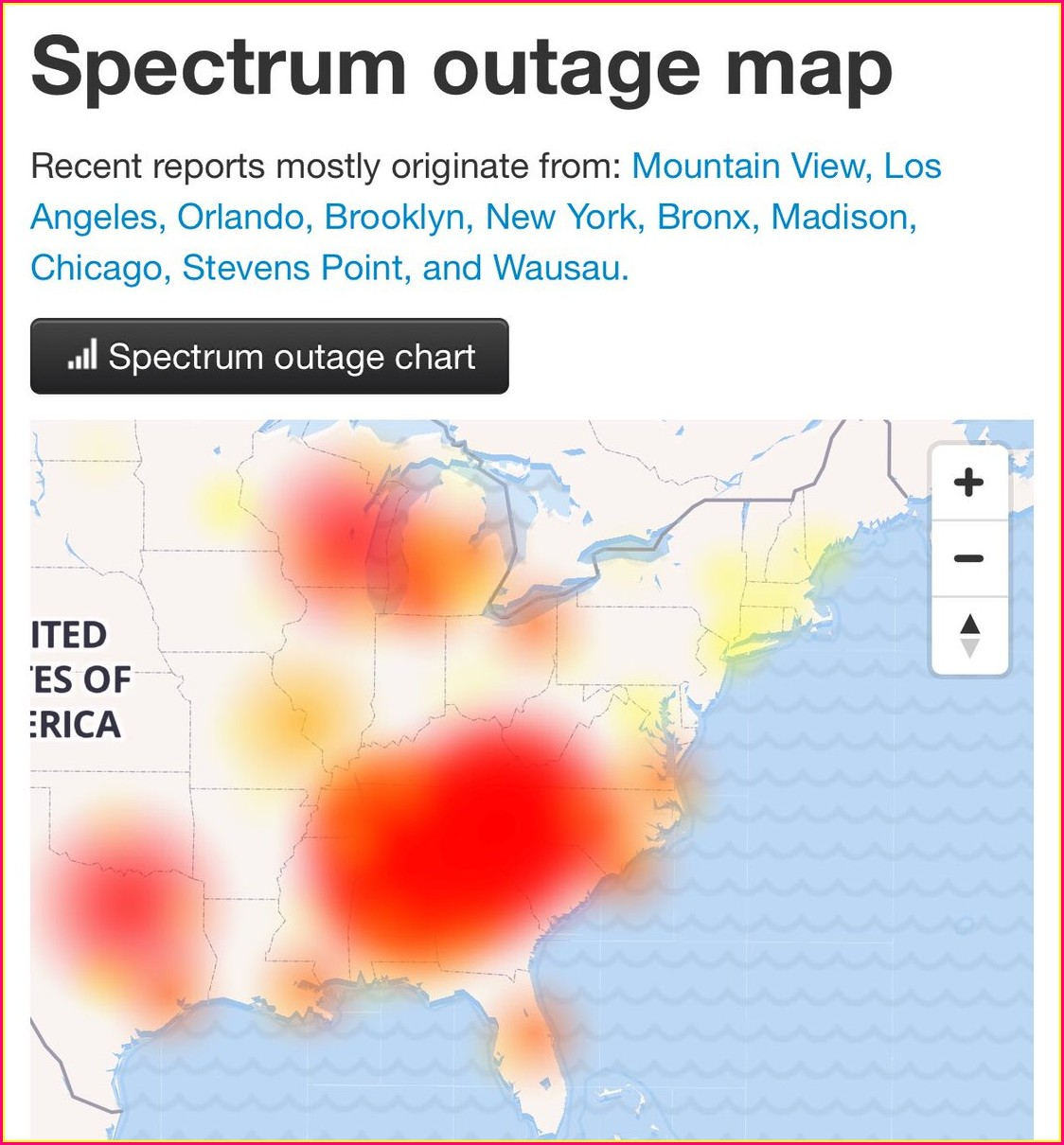 Charter Internet Outage Map