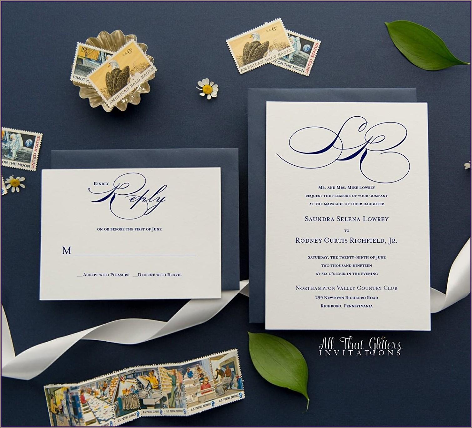Cheap Monogram Wedding Invitations