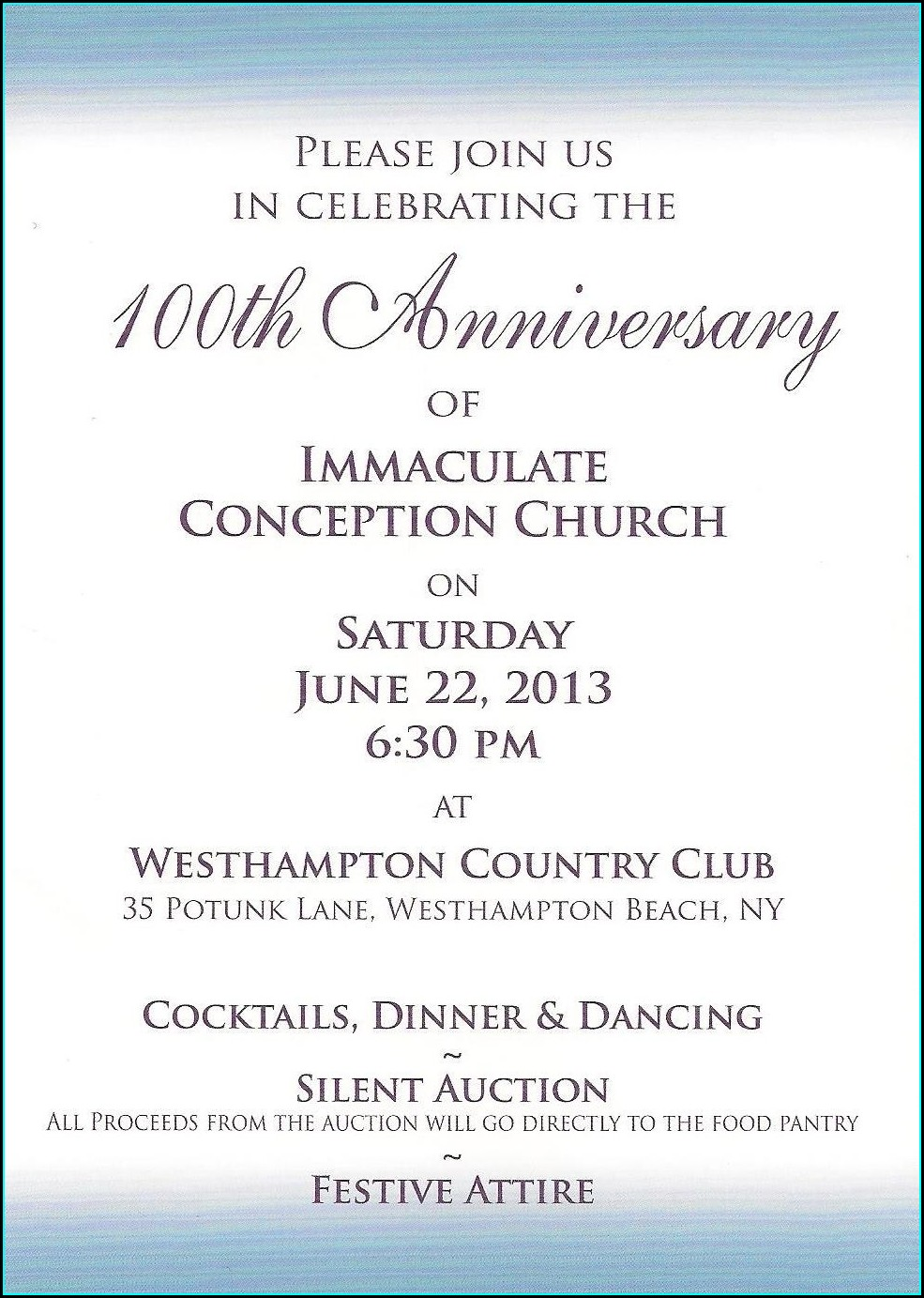 Church Anniversary Invitation Letter Sample