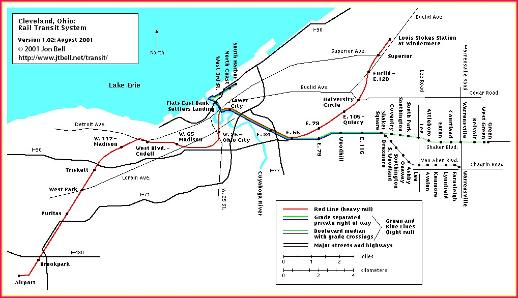 Cleveland Rta Red Line Map